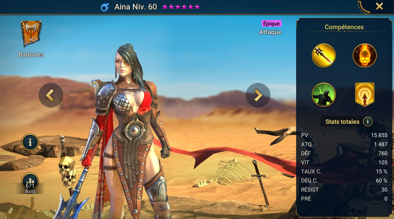 Guide maîtrises et artefact sur Aina