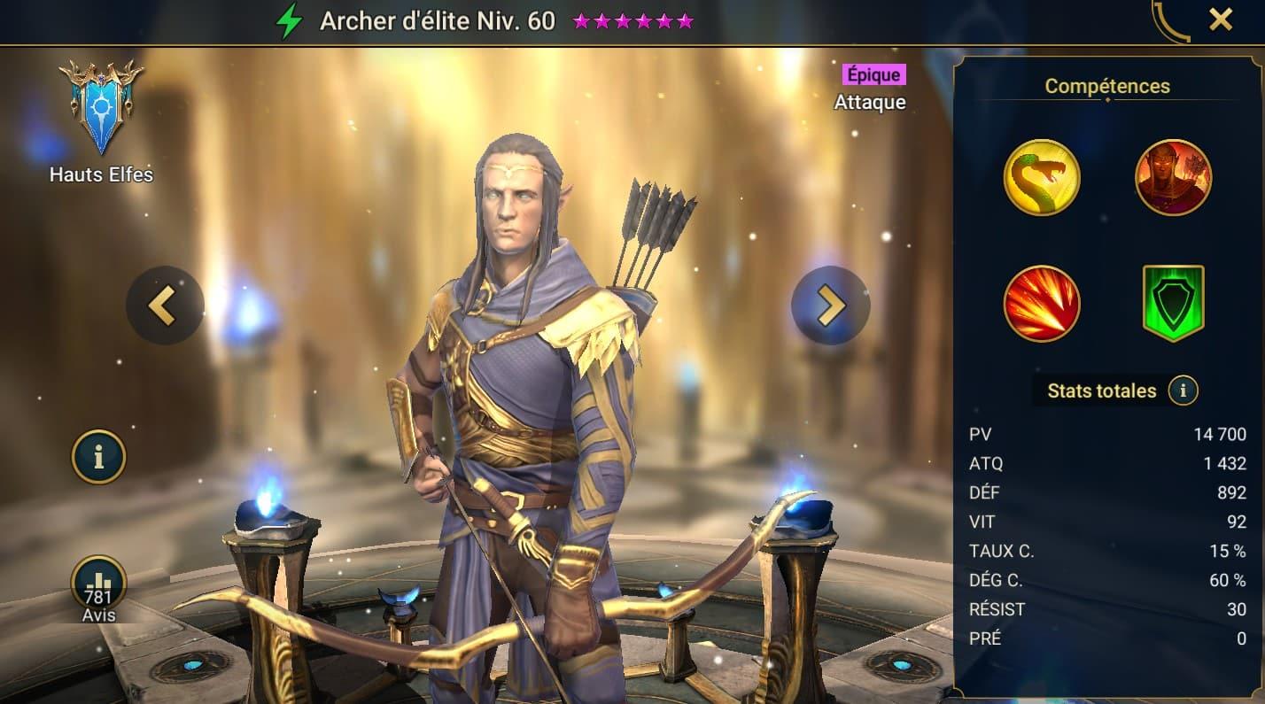 Guide maîtrises et artefact sur Archer d'élite