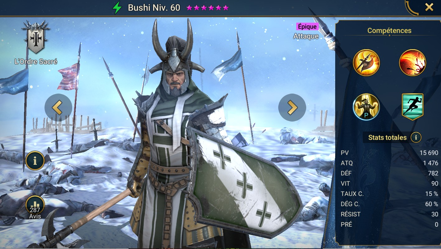 Guide maîtrises et artefact sur Bushi