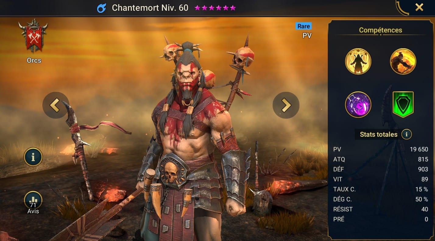 Guide maîtrises et artefact sur Chantemort