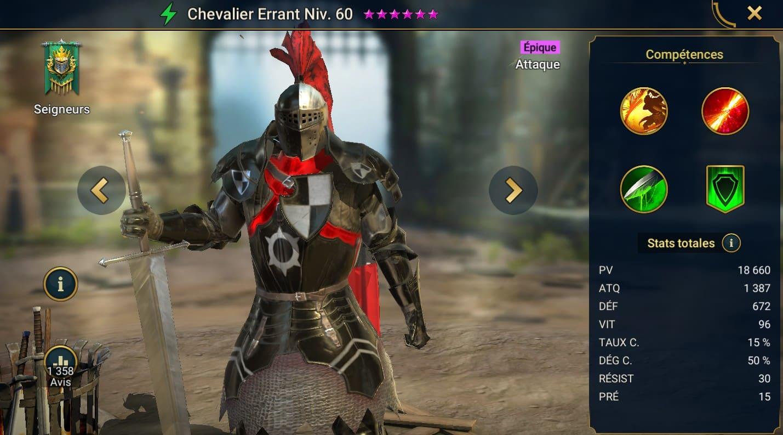 Guide maîtrises et artefact sur Chevalier Errant