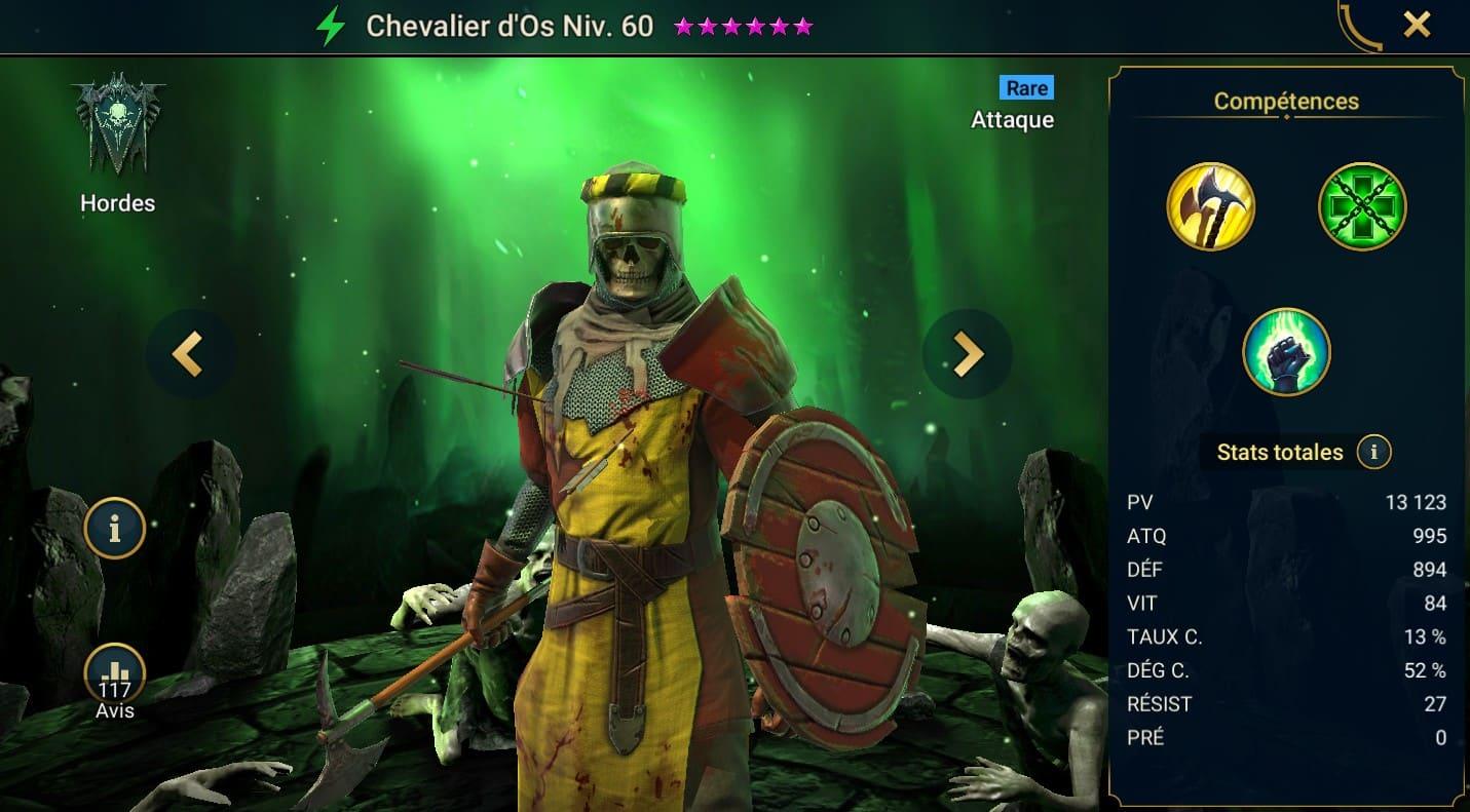 Guide maîtrises et artefact sur Chevalier d'Os