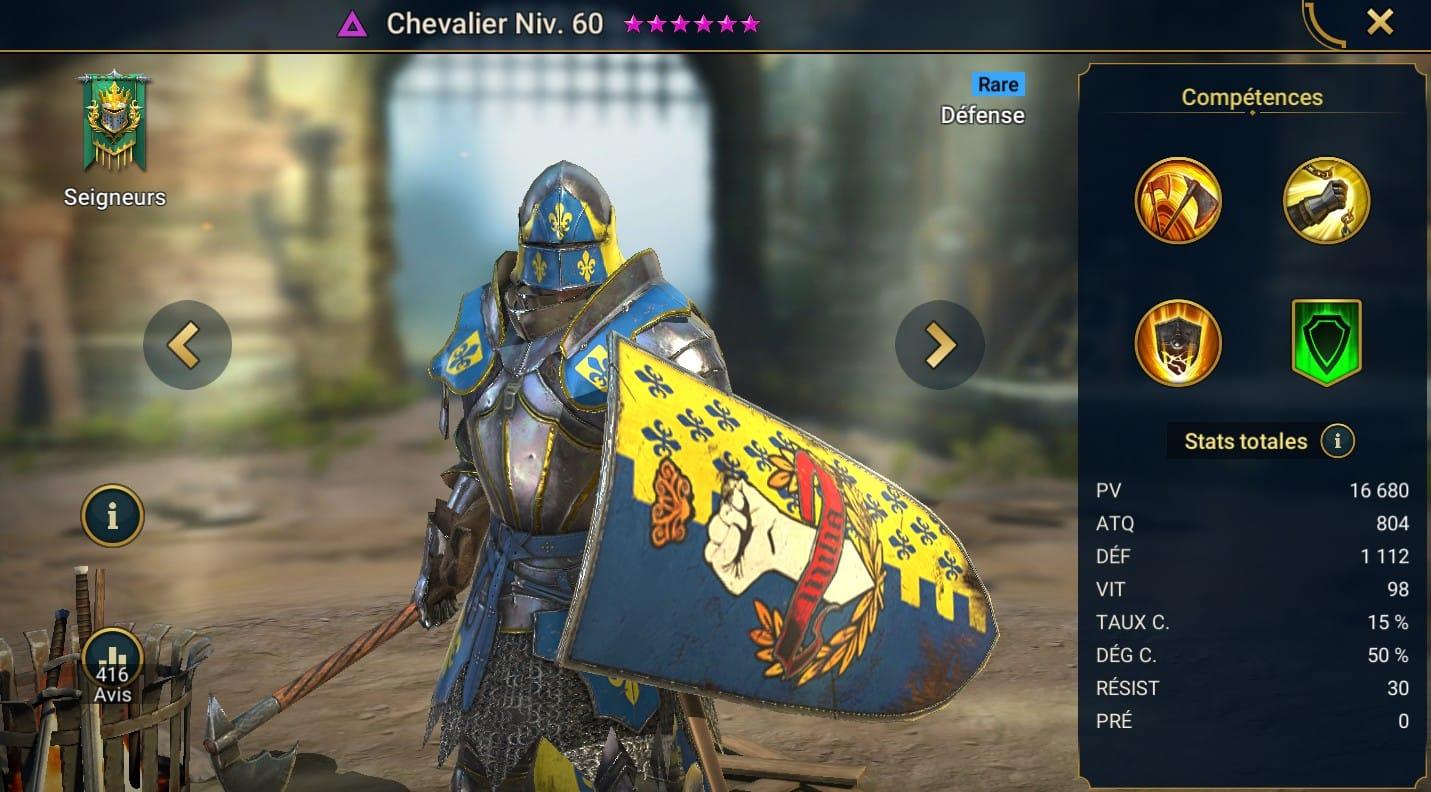 Guide maîtrises et artefact sur Chevalier