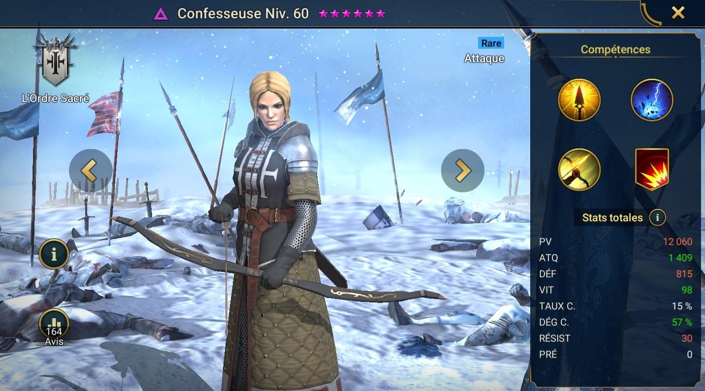 Guide maîtrises et artefact sur Confesseuse