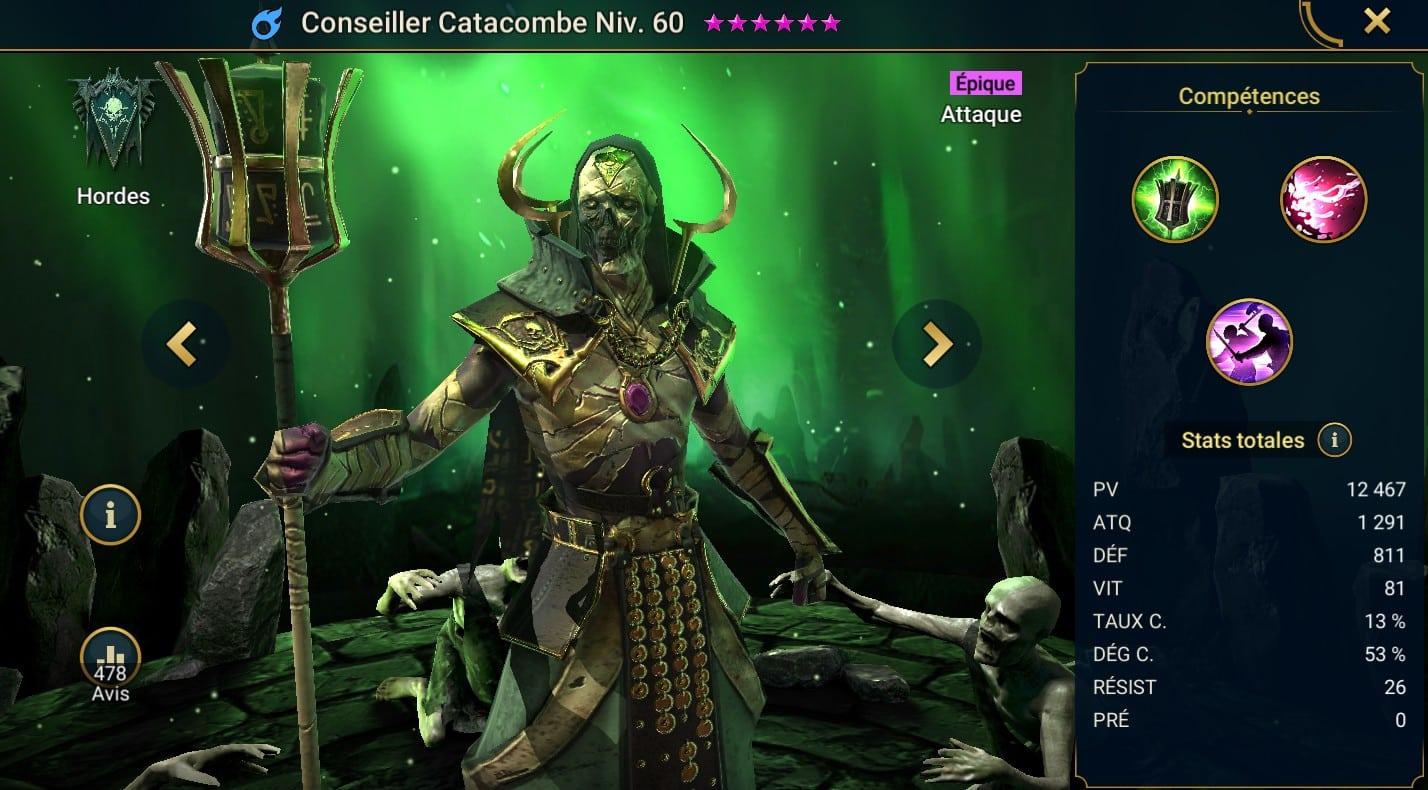 Guide maîtrises et artefact sur Conseiller Catacombe