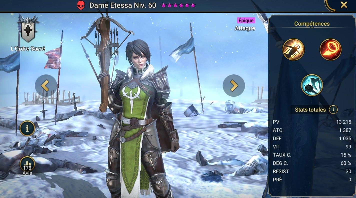 Guide maîtrises et artefact sur Dame Etessa