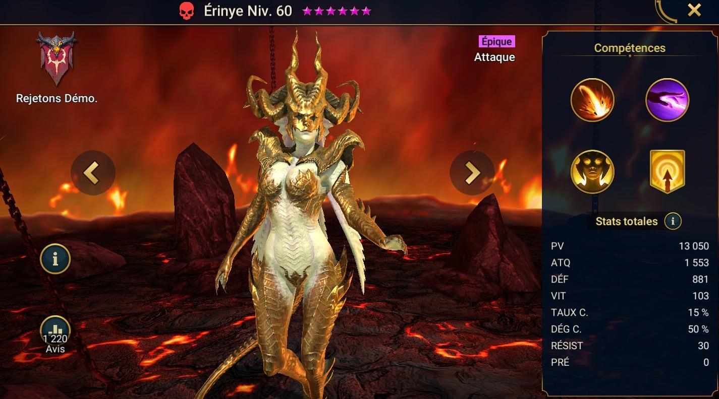 Guide maîtrises et artefact sur Erinye