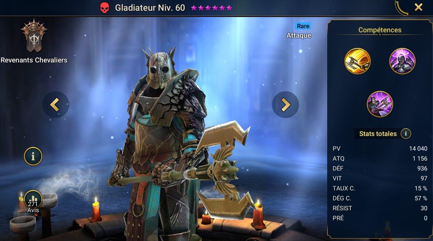 Guide maîtrises et artefact sur Gladiateur