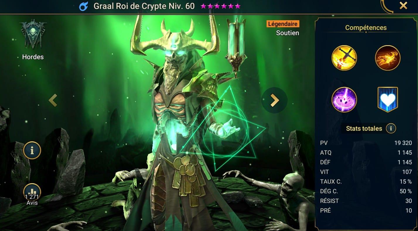 Guide maîtrises et artefact sur Graal Roi de Crypte