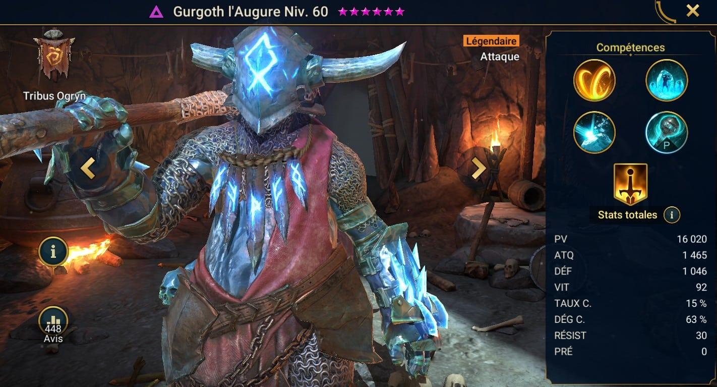 Guide maîtrises et artefact sur Gurgoth l'Augure
