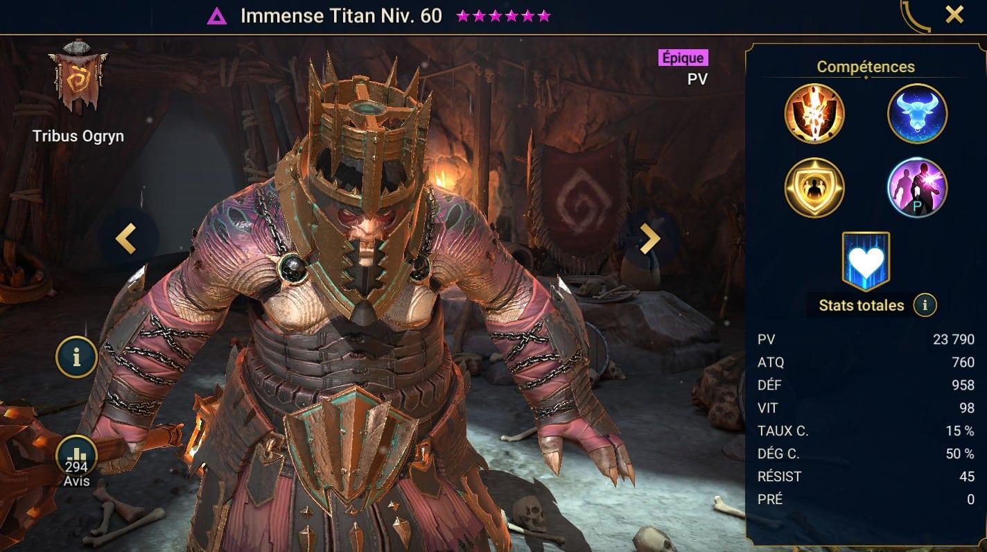 Guide maîtrises et artefact sur Immense Titan