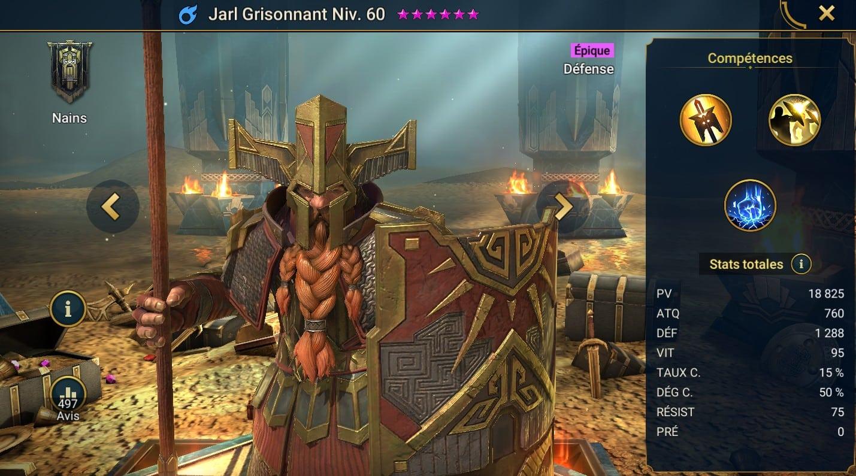 Guide maîtrises et artefact sur Jarl Grisonnant