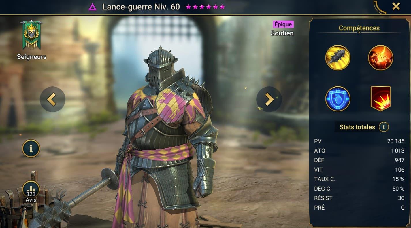 Guide maîtrises et artefact sur Lance-guerre