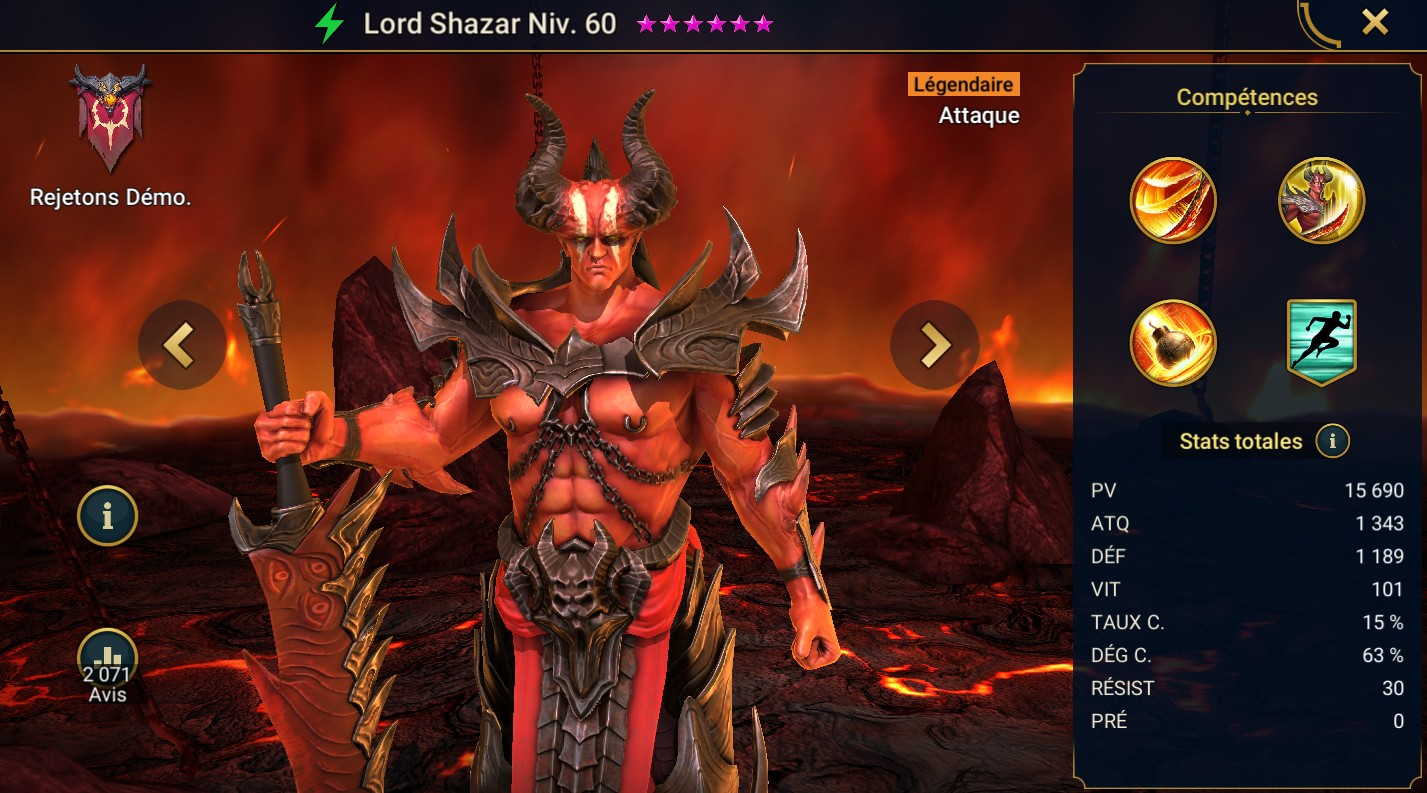 Guide maîtrises et artefact sur Lord Shazar