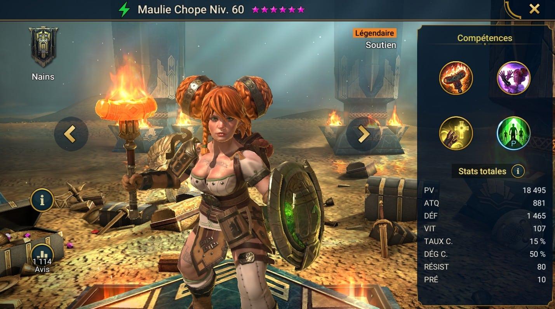 Guide maîtrises et artefact sur Maulie Chope