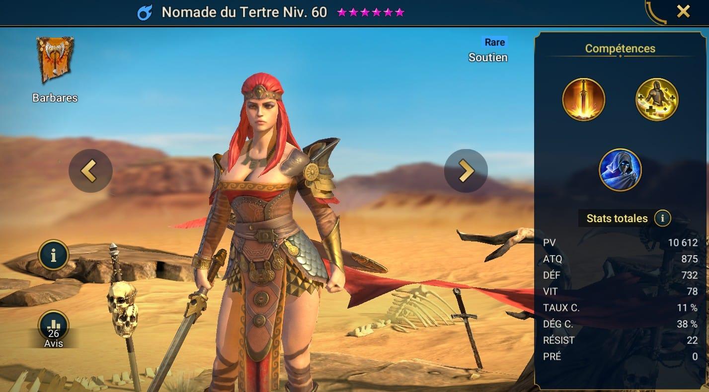 Guide maîtrises et artefact sur Nomade du Tertre