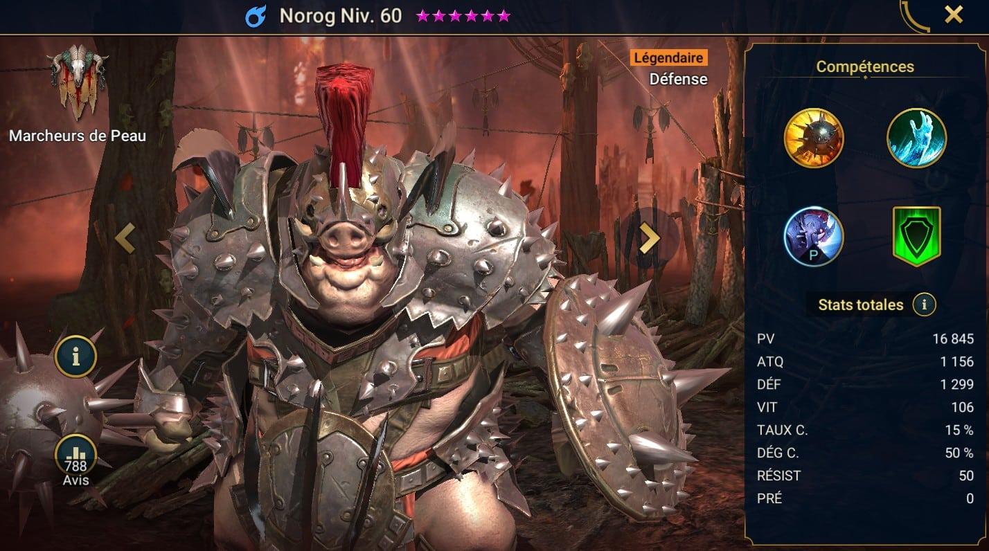 Guide maîtrises et artefact sur Norog