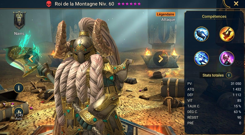 Guide maîtrises et artefact sur Roi de la montagne