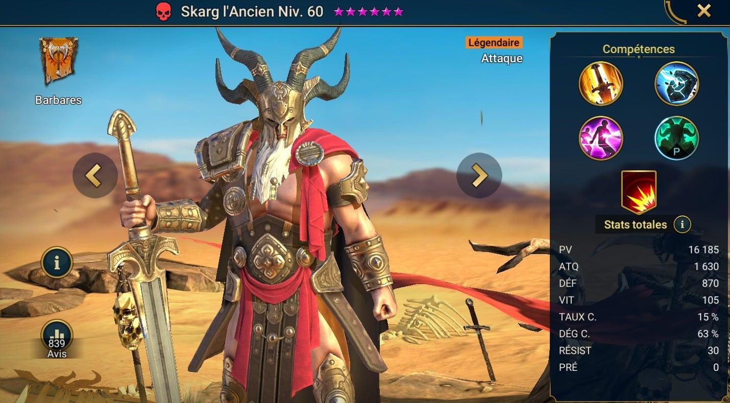 Guide maîtrises et artefact sur Skarg l'Ancien