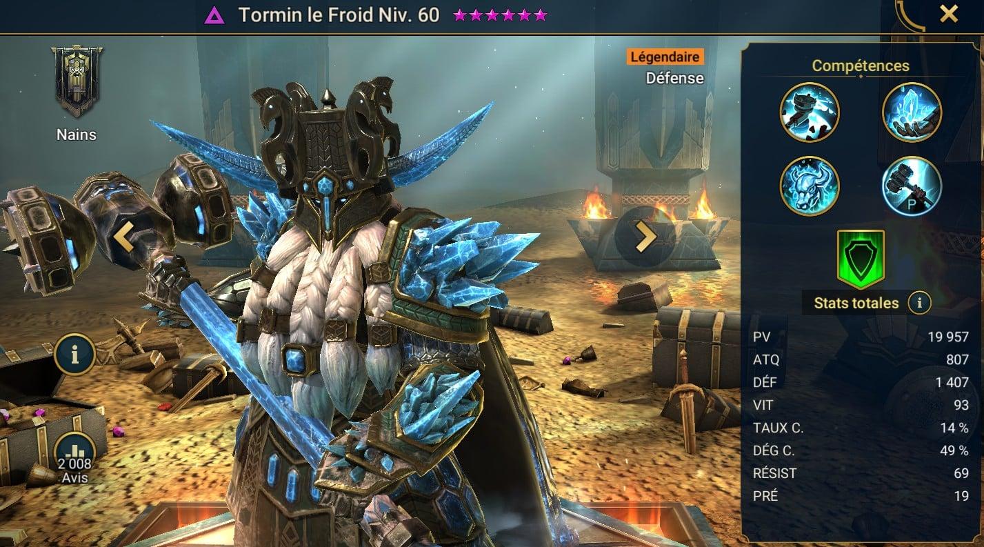 Guide maîtrises et artefact sur Tormin le Froid