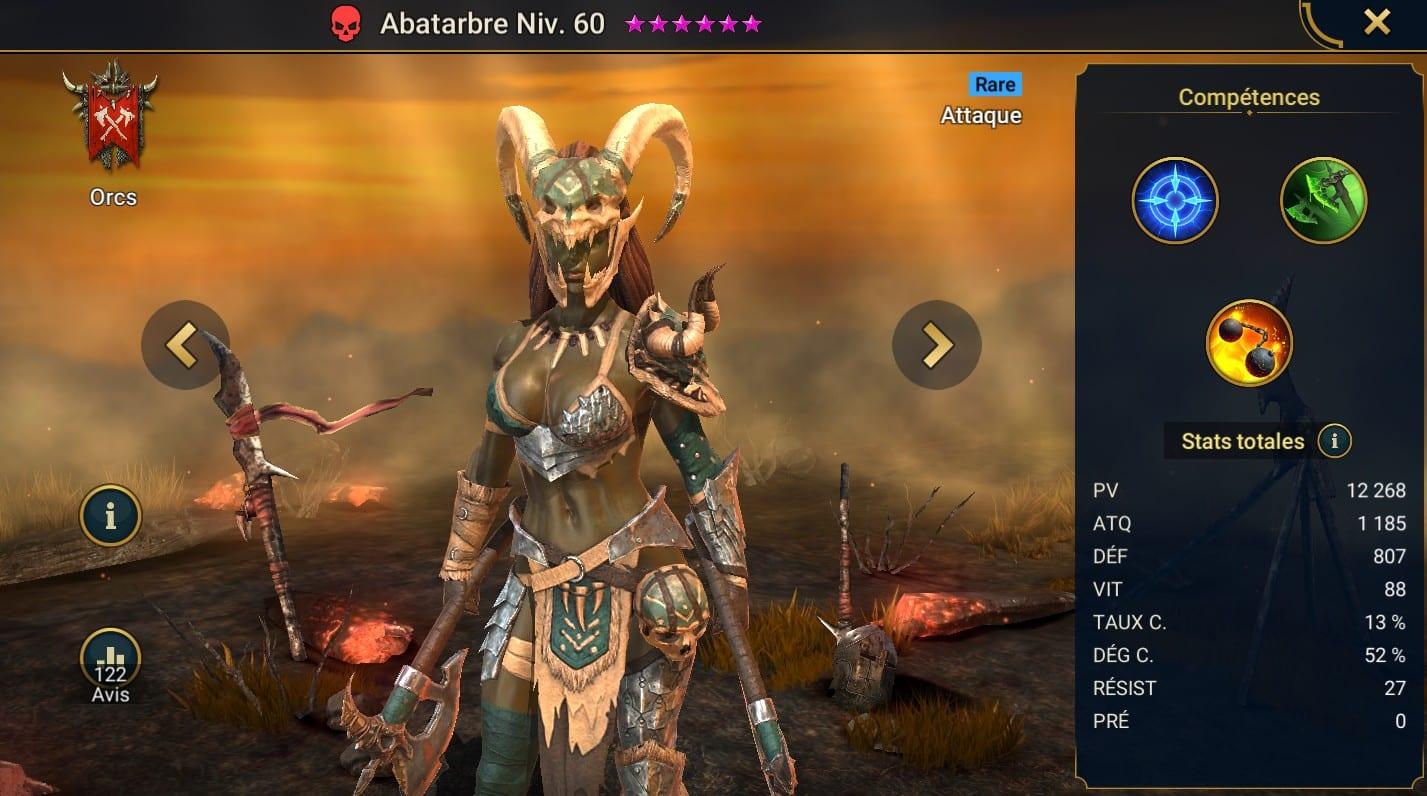 Guide maîtrises et artefact sur Abatarbre
