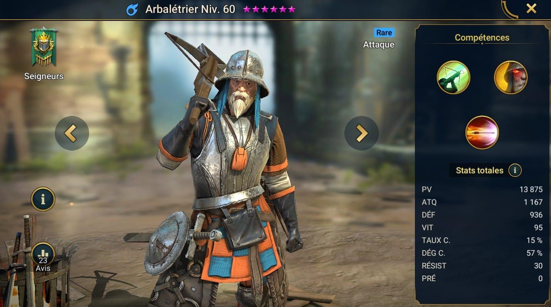 Guide maîtrises et artefact sur Arbaletrier