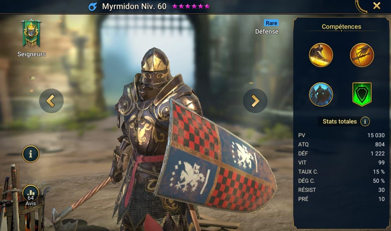 Guide maîtrises et artefact sur Myrmidon