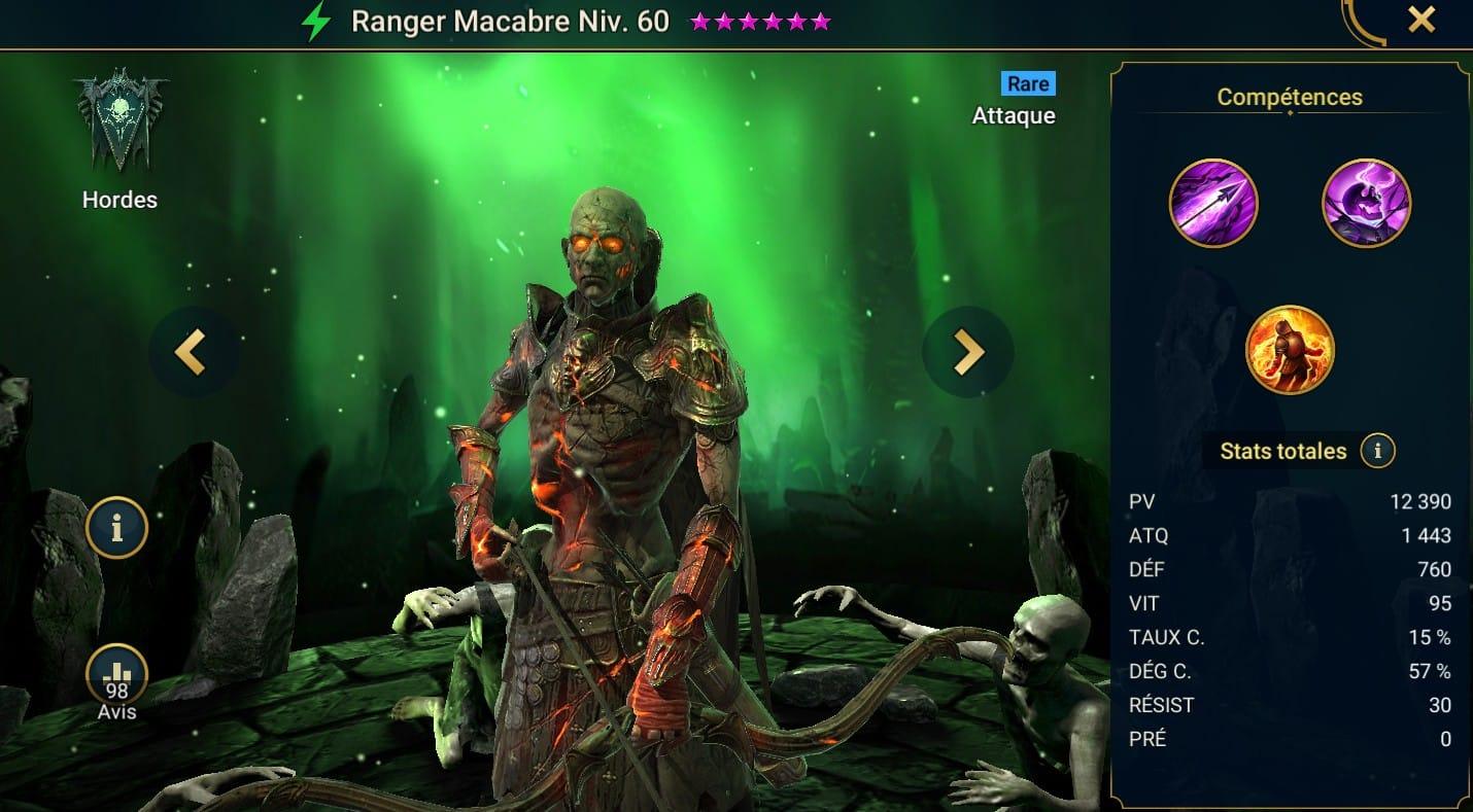 Guide maîtrises et artefact sur Ranger Macabre