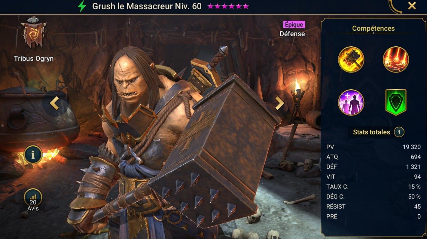Guide maîtrises et artefact sur Grush le Massacreur