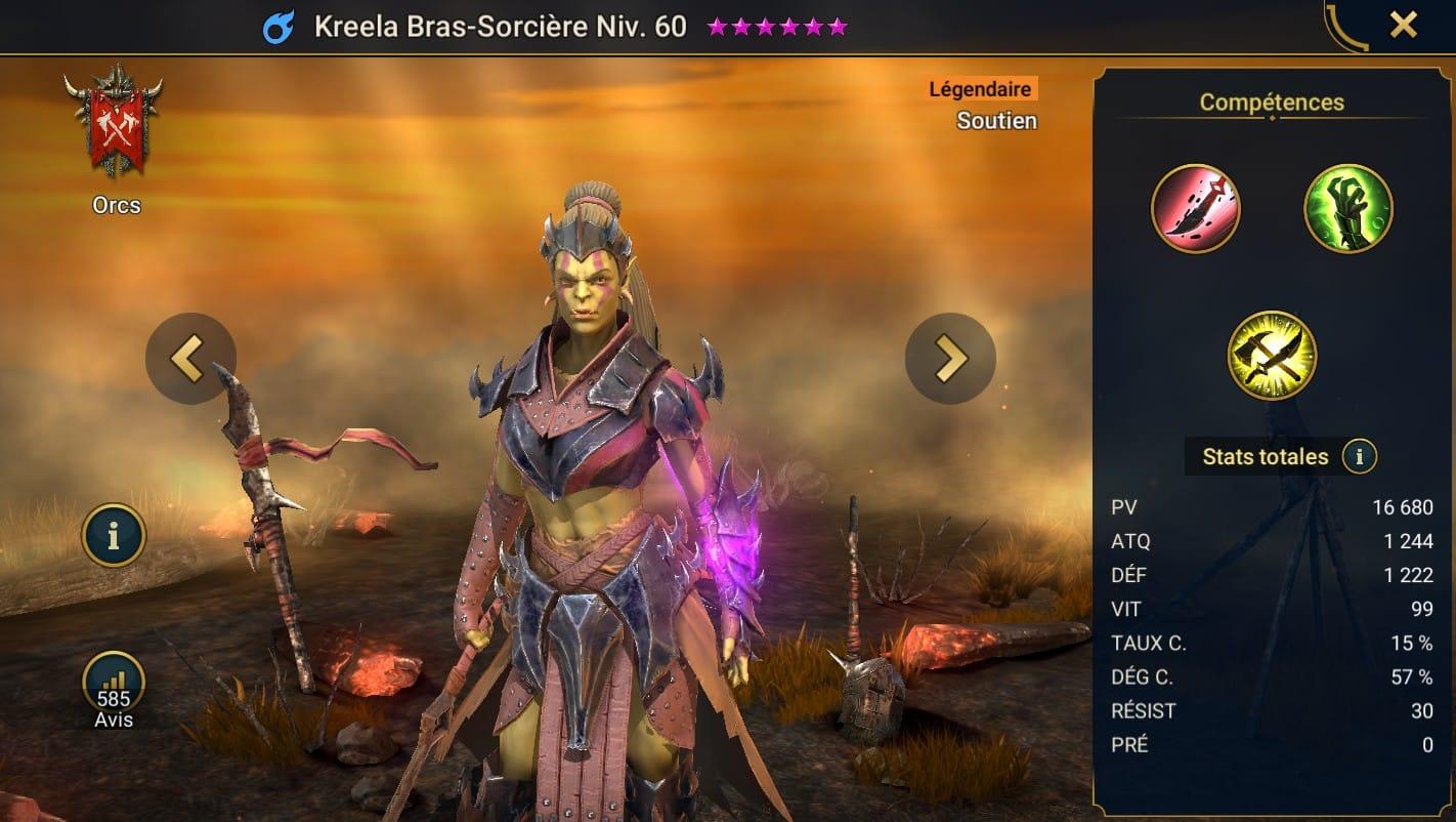 Guide maîtrises et artefact sur Kreela Bras-Sorcière
