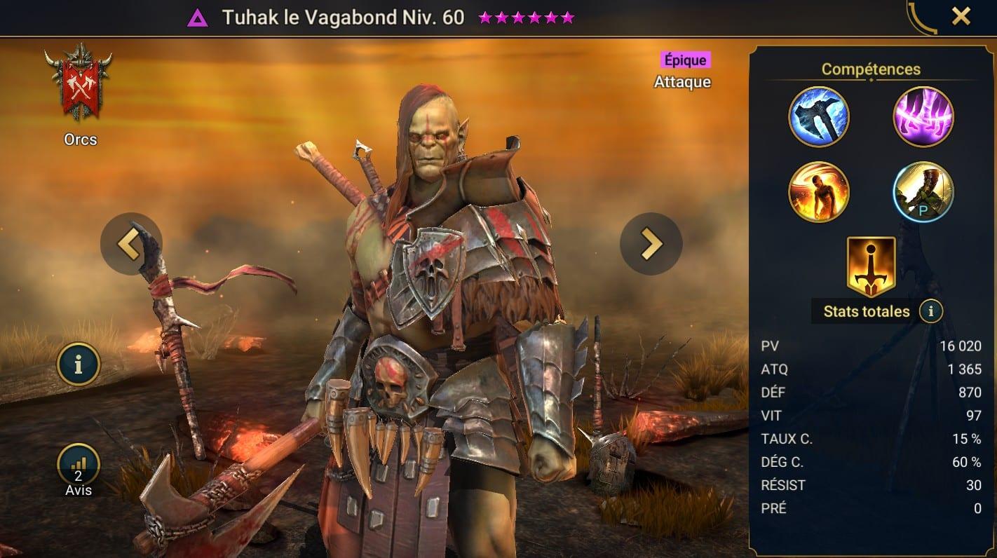 Guide maîtrises et artefact sur Tuhak le Vagabond