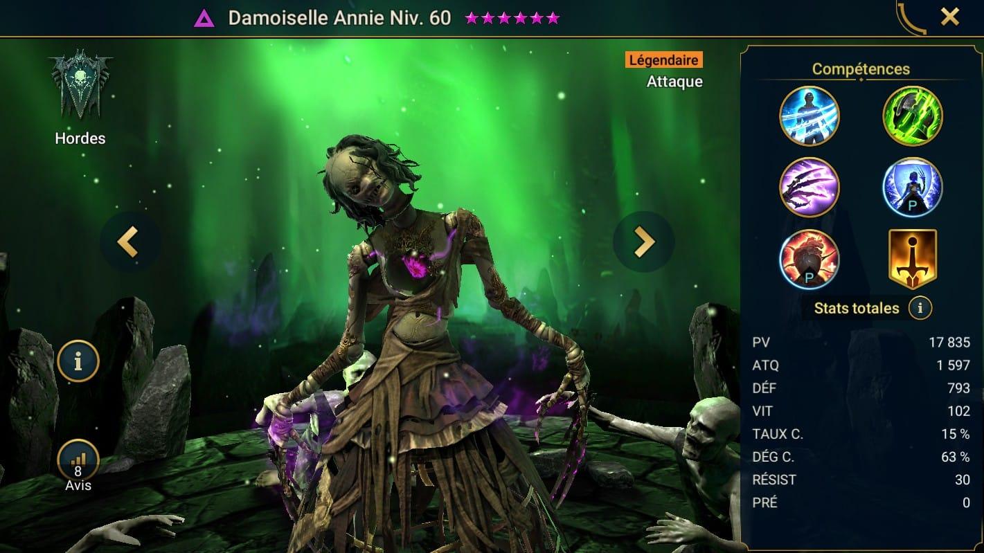 guide maitrises et artefact pour Damoiselle Annie