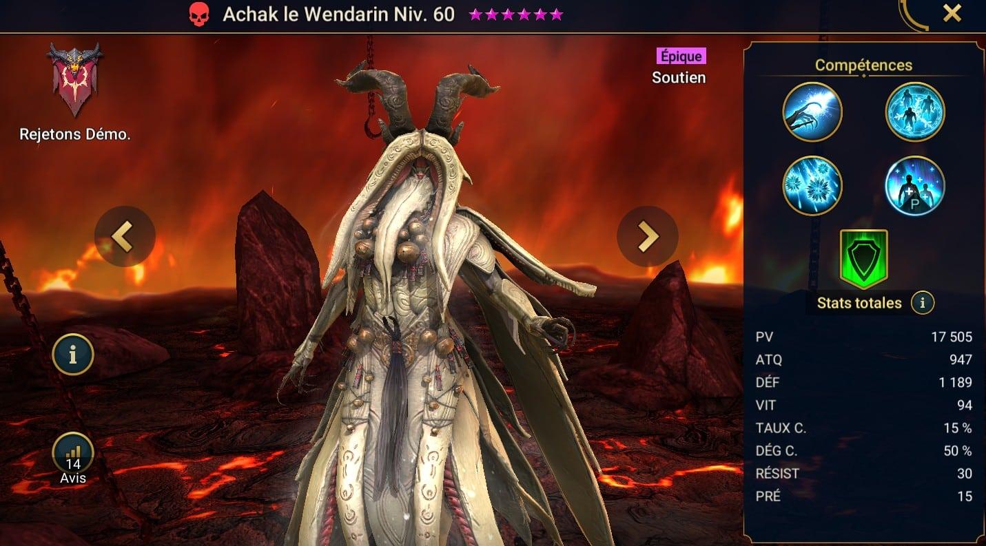 Guide maîtrises et artefact sur Achak le Wendarin