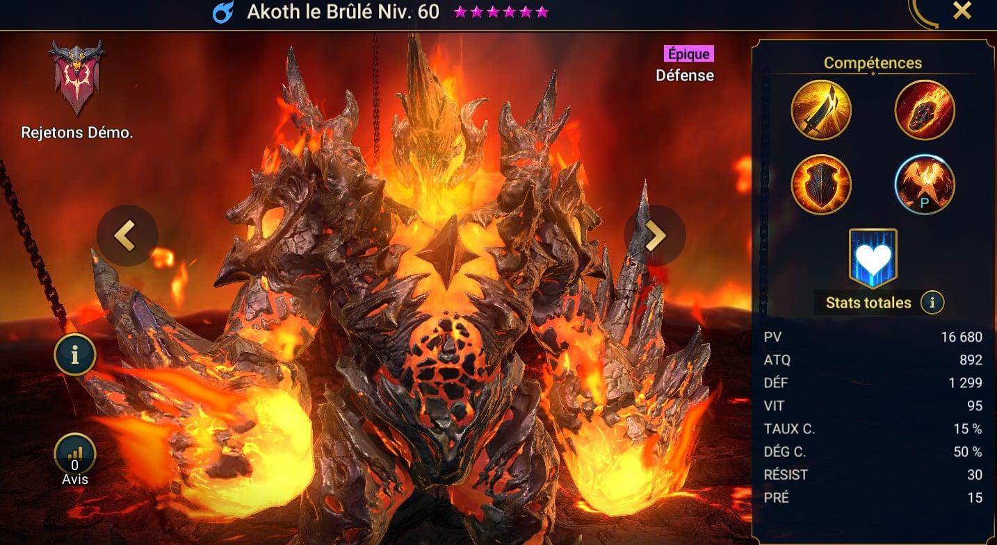 Guide maîtrises et artefact sur Akoth le Brûlé