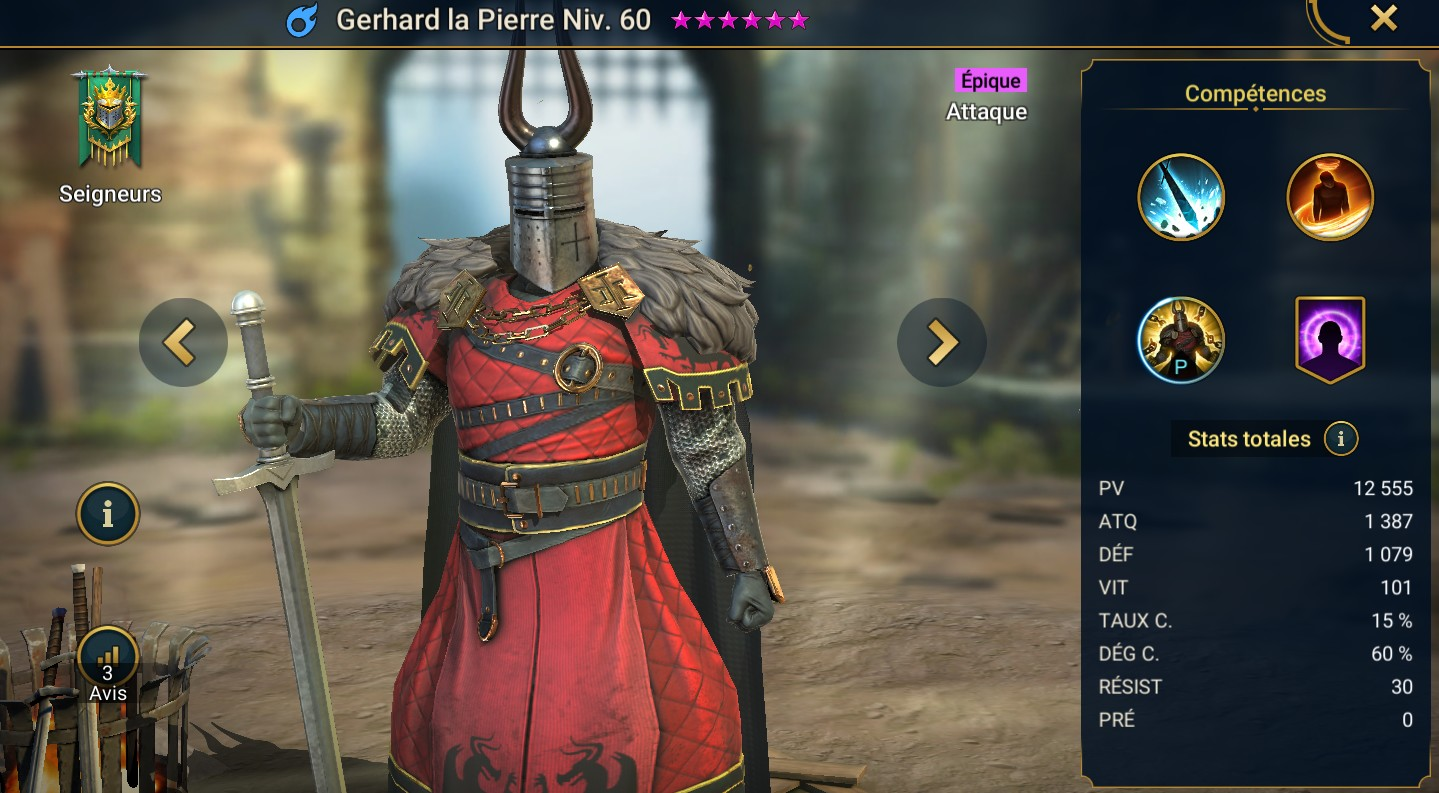 Guide maîtrises et artefact sur Gerhard la Pierre