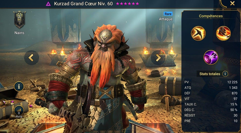 Guide maîtrises et artefact sur Kurzad Grand Coeur