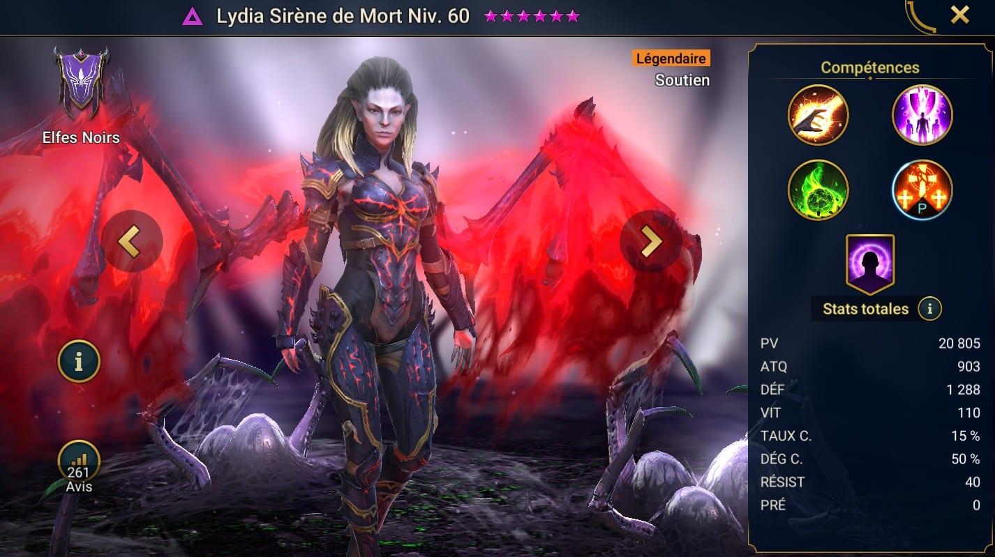 Guide maîtrises et artefact sur Lydia Sirène de Mort