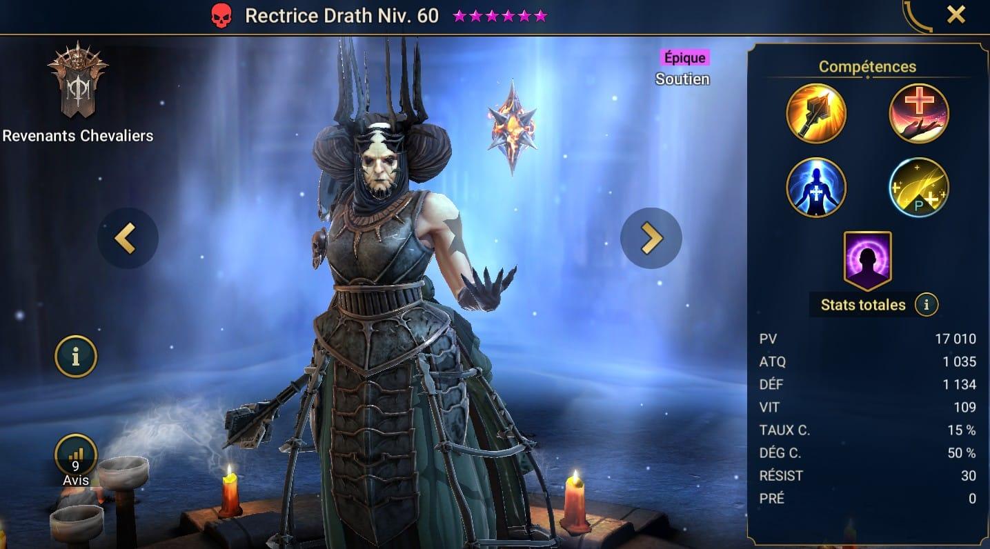 Guide maîtrises et artefact sur Rectrice Drath