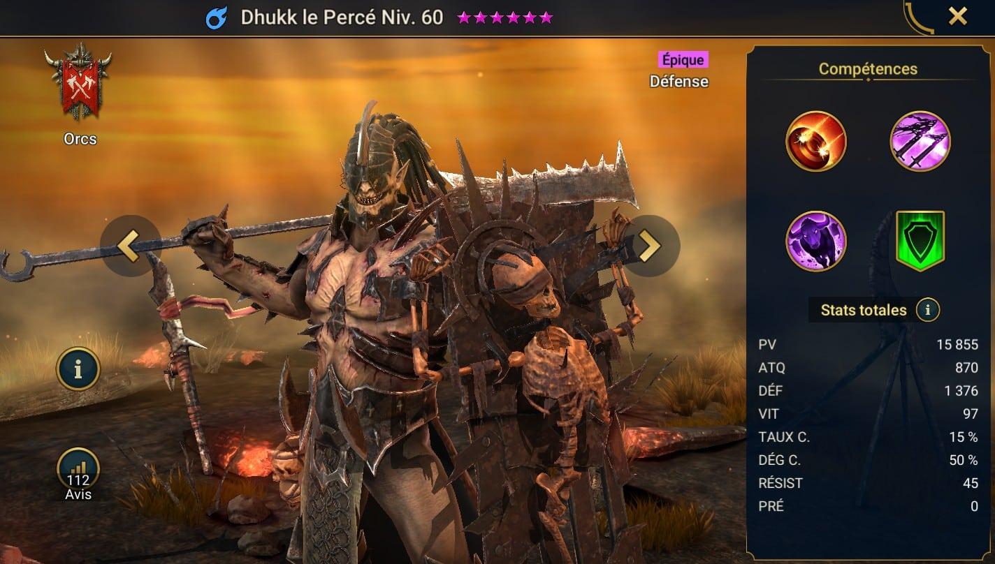 Guide maîtrises et artefact sur Dhukk le Percé