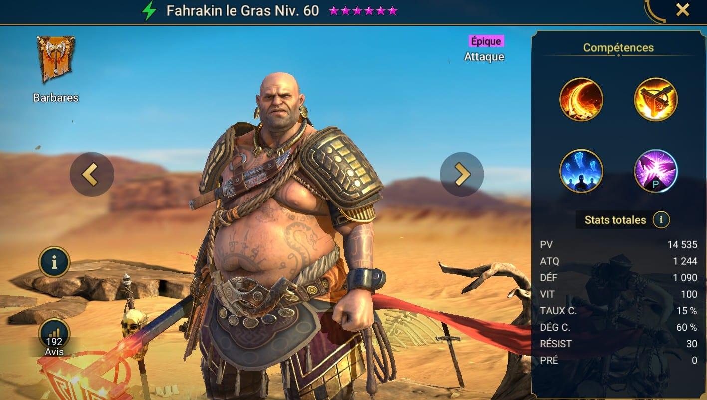 Guide maîtrises et artefact sur Fahrakin le Gras
