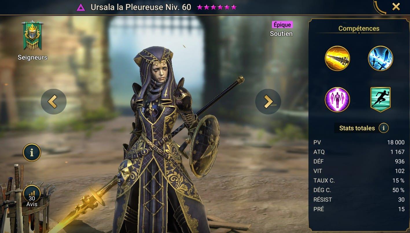 Guide maîtrises et artefact sur Ursala la Pleureuse