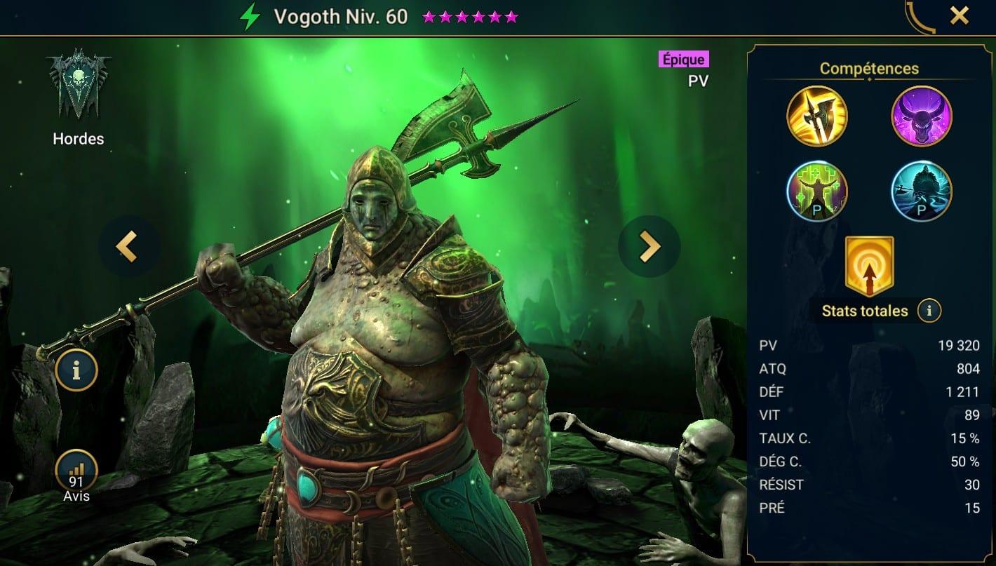 Guide maîtrises et artefact sur Vogoth