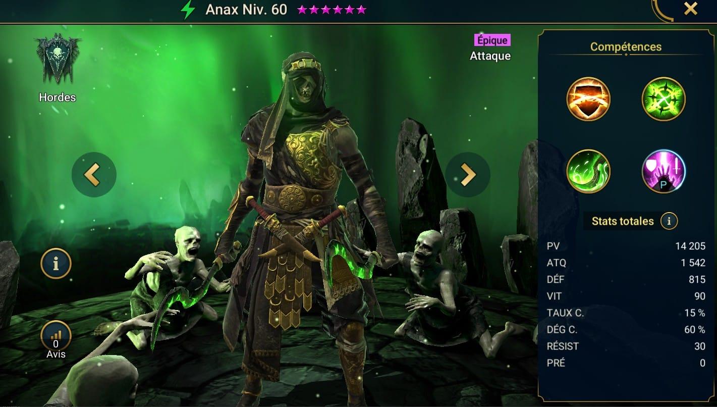 Guide maîtrises et artefact sur Anax