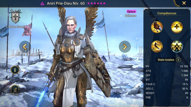 Guide maîtrises et artefact sur Aniri Prie-Dieu