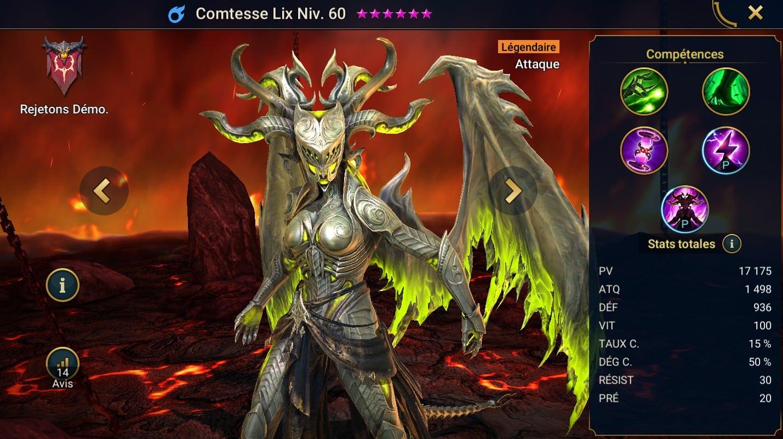 Guide maîtrises et artefact sur Comtesse Lix