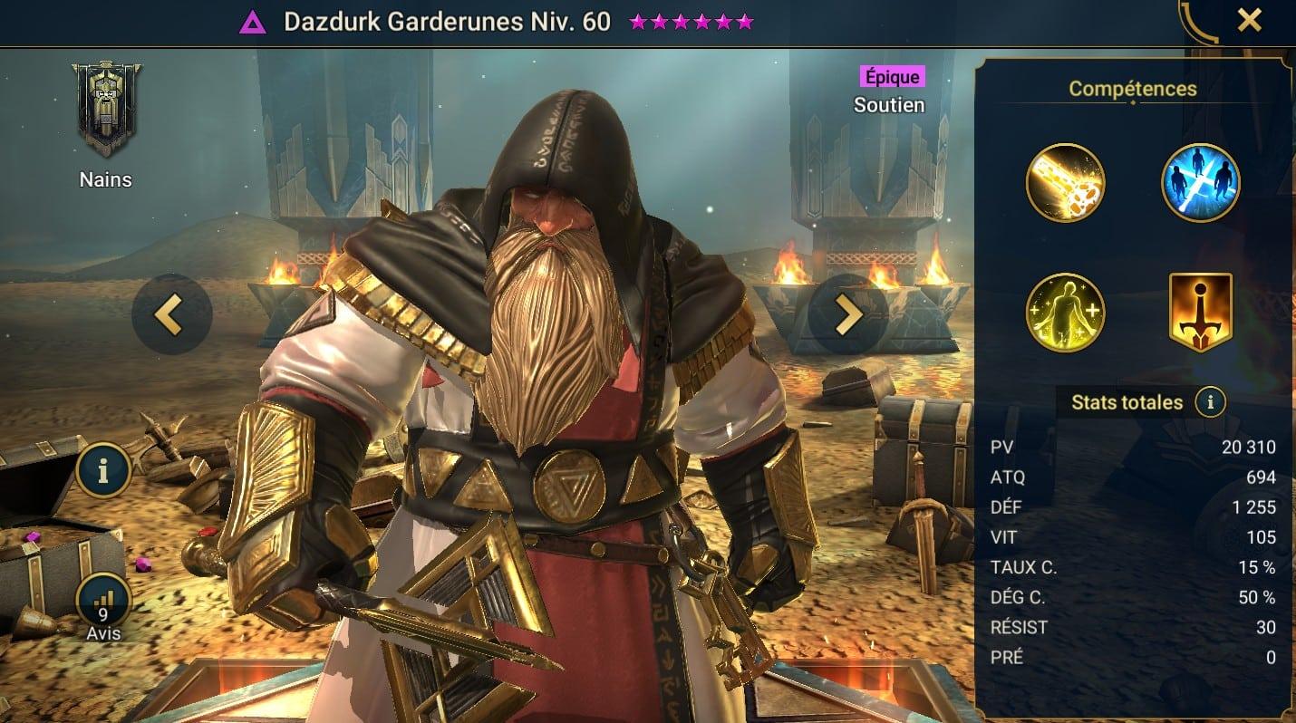 Guide maîtrises et artefact sur Dazdurk Garderunes