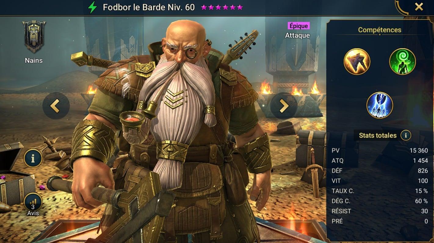 Guide maîtrises et artefact sur Fodbor le Barde