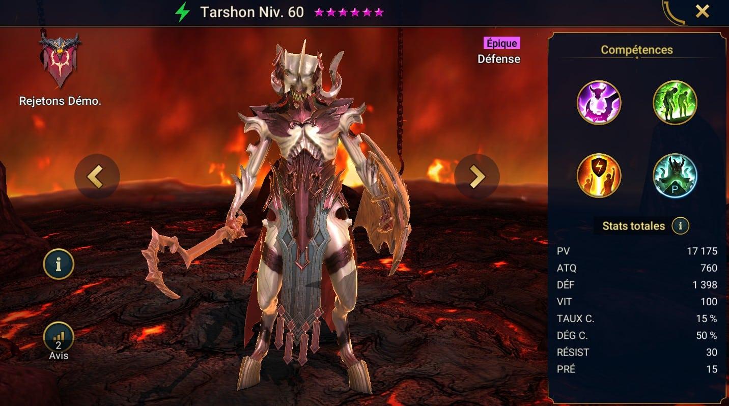 Guide maîtrises et artefact sur Tarshon