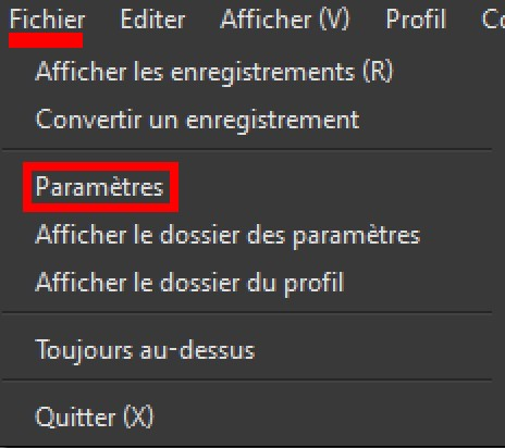 parametre OBS