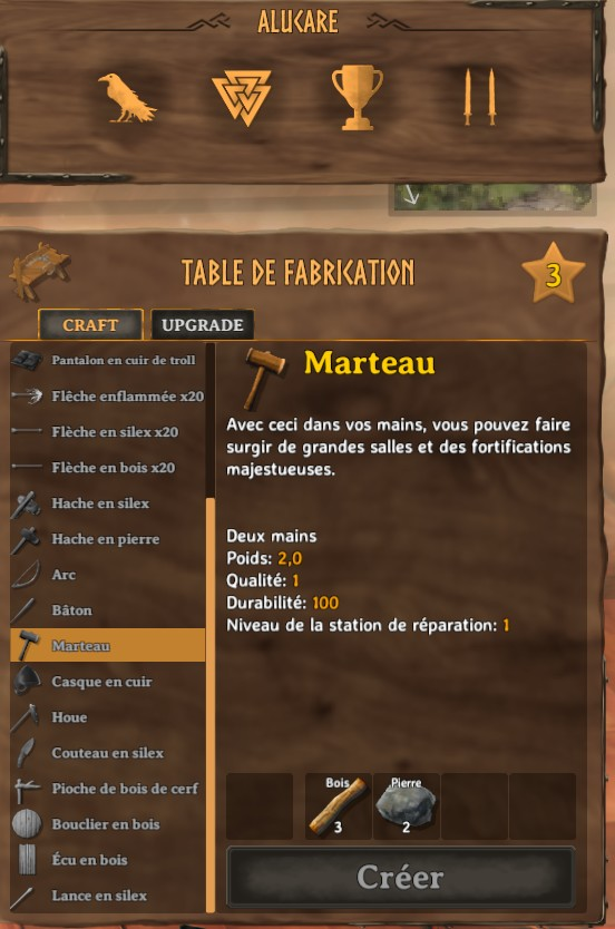 table de fabrication level 3